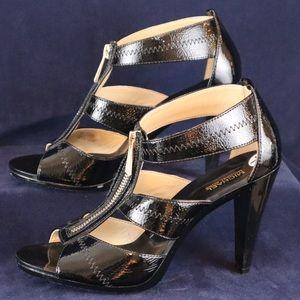 Michael Kors Black Leather T-Strap Heels Size 7.5